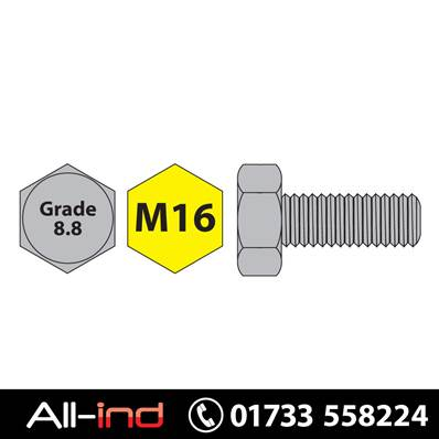 [50] M16X25MM SET SCREW HT GD 8.8 BZP DIN933