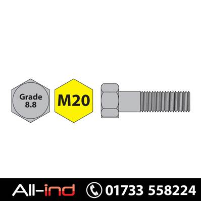 [25] M20X120MM BOLT HT GD 8.8 BZP DIN931
