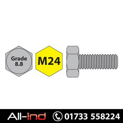 [25] M24X60MM SET SCREW HT GD 8.8 BZP DIN933